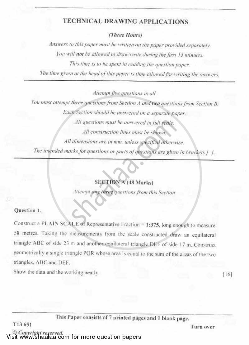 Question Paper Icse Class 10 Technical Drawing Applications 2012