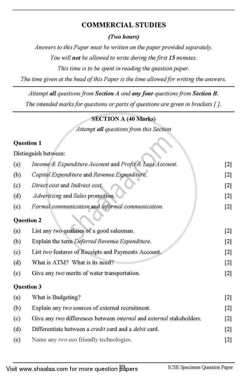 Question Paper - Commercial Studies 2012 - 2013 - I.C.S.E. - Class 10 - CISCE (Council for the Indian School Certificate Examinations)