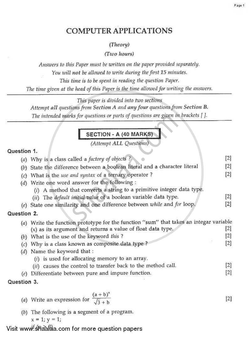 Question Paper - Computer Applications 2008 - 2009 - I.C.S.E. - Class 10 - CISCE (Council for the Indian School Certificate Examinations)