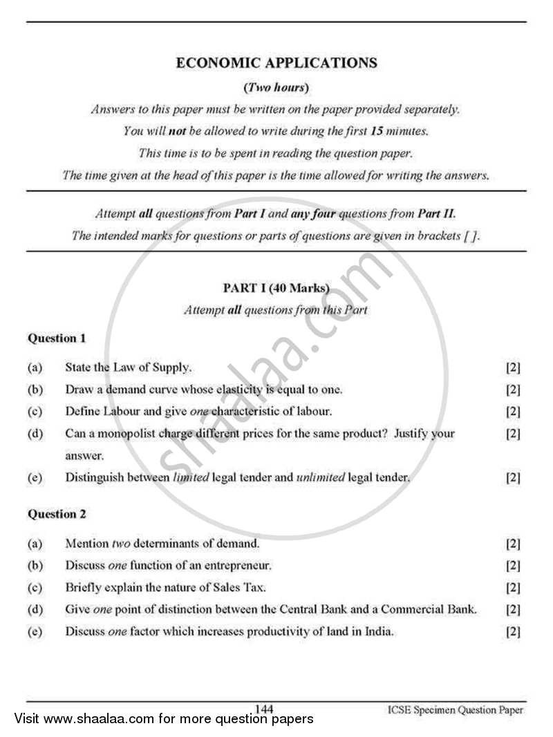 Question Paper - Economic Applications 2012 - 2013 - I.C.S.E. - Class 10 - CISCE (Council for the Indian School Certificate Examinations)