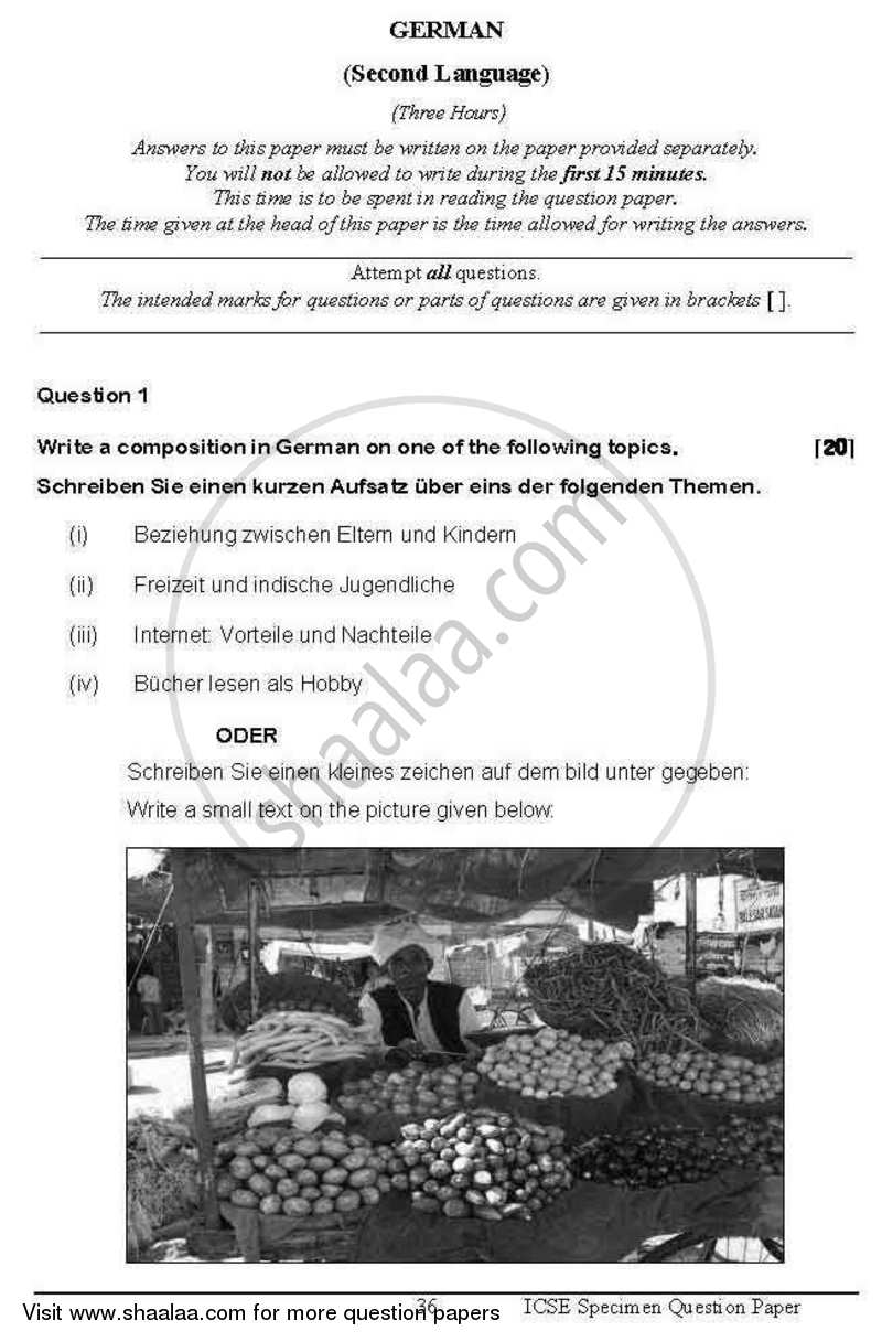 Question Paper - German 2012 - 2013 - I.C.S.E. - Class 10 - CISCE (Council for the Indian School Certificate Examinations)