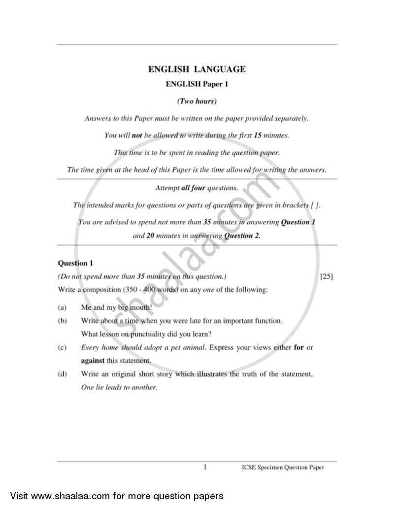 English 1 (English Language) 2016-2017 - I.C.S.E. - Class 10 - CISCE (Council for the Indian School Certificate Examinations) question paper with PDF download