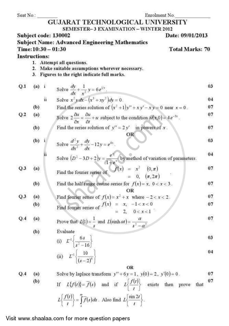 Question Paper - Advanced Engineering Mathematics 2012 - 2013 - B.E. - Semester 3 (SE Second Year) - Gujarat Technological University (GTU)