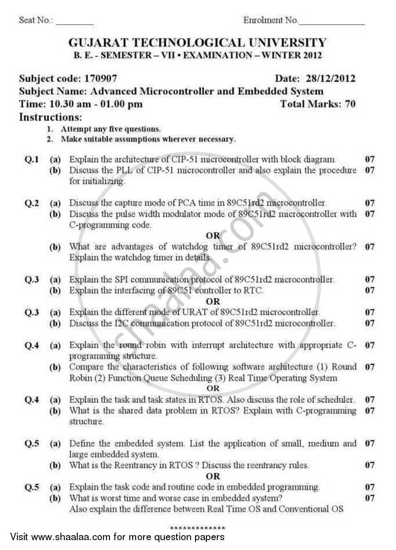 Question Paper - Advanced Microcontrollers and Embedded System 2012 - 2013 - B.E. - Semester 7 (BE Fourth Year) - Gujarat Technological University (GTU)