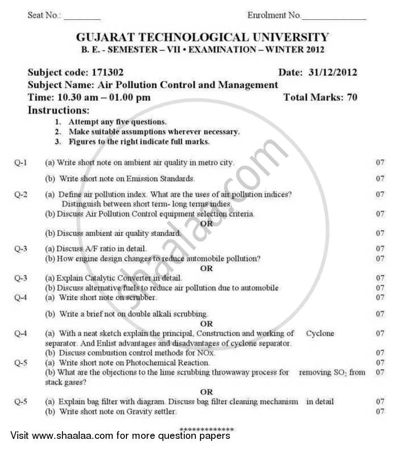 Question Paper - Air Pollution Control and Management 2012 - 2013 - B.E. - Semester 7 (BE Fourth Year) - Gujarat Technological University (GTU)