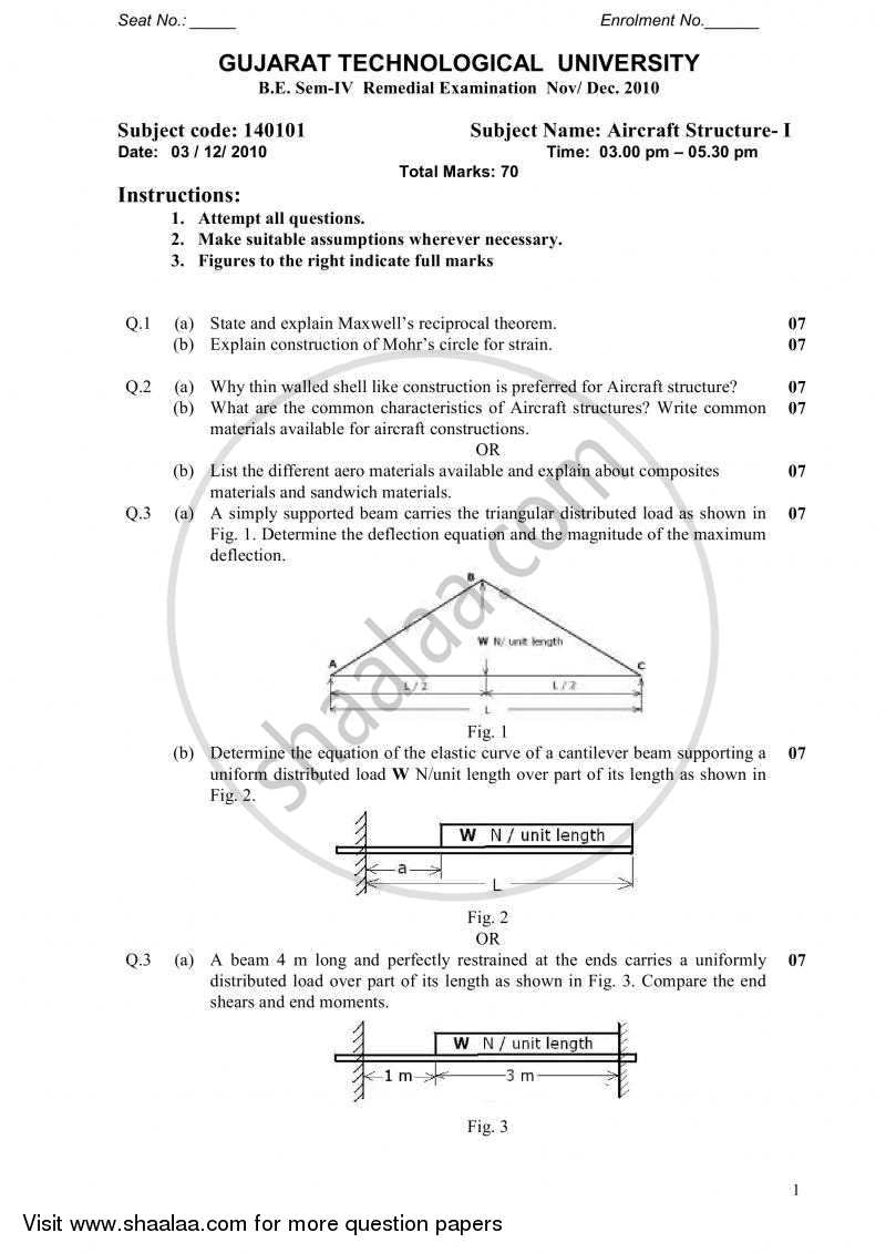 Question Paper - Aircraft Structure 1 2010 - 2011 - B.E. - Semester 4 (SE Second Year) - Gujarat Technological University (GTU)