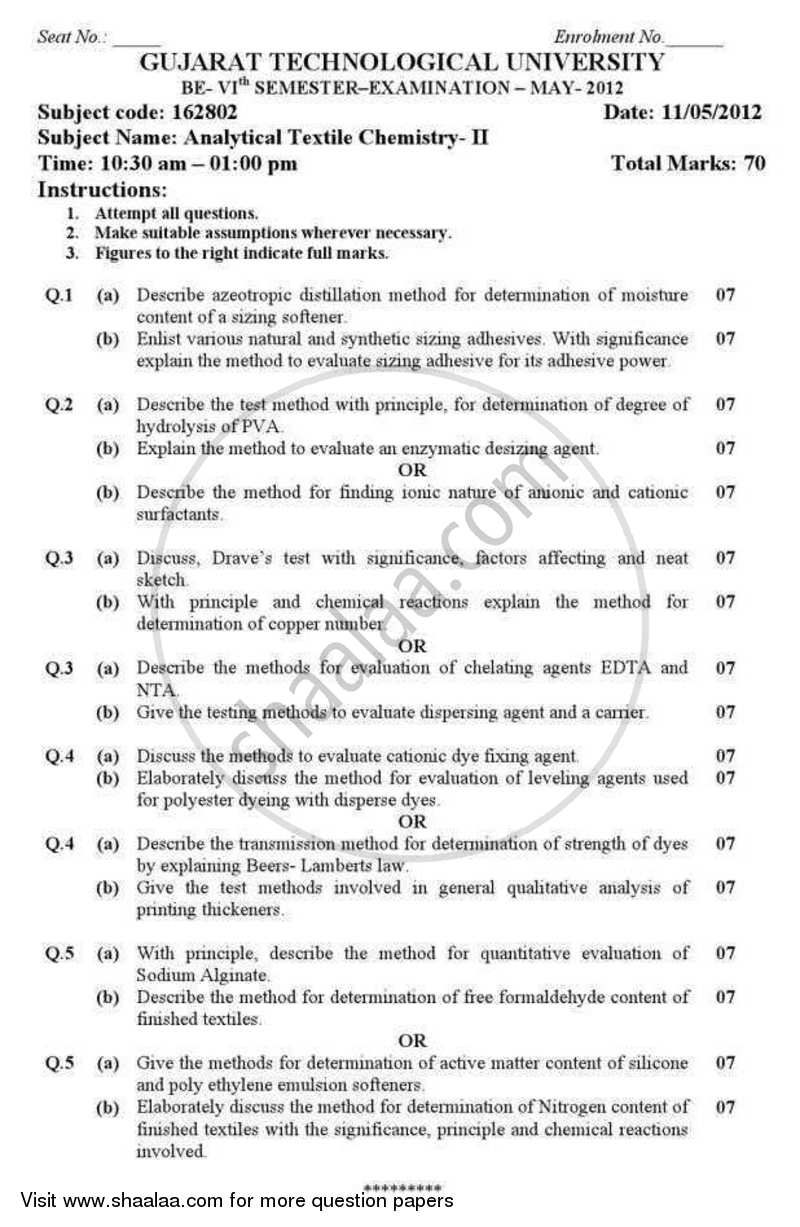 Question Paper - Analytical Textile Chemistry 2 2011 - 2012 - B.E. - Semester 6 (TE Third Year) - Gujarat Technological University (GTU)