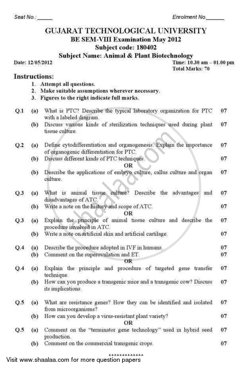Question Paper - Animal and Plant Biotechnology 2011 - 2012 - B.E. - Semester 8 (BE Fourth Year) - Gujarat Technological University (GTU)