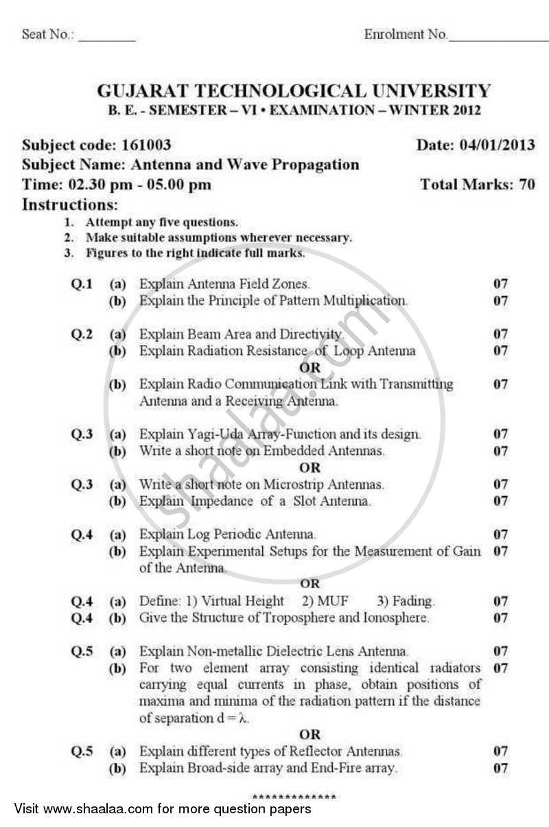 Question Paper - Antenna and Wave Propogation 2012 - 2013 - B.E. - Semester 6 (TE Third Year) - Gujarat Technological University (GTU)