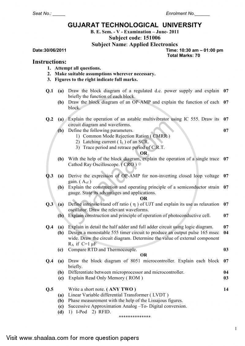 Question Paper - Applied Electronics 2010 - 2011 - B.E. - Semester 5 (TE Third Year) - Gujarat Technological University (GTU)