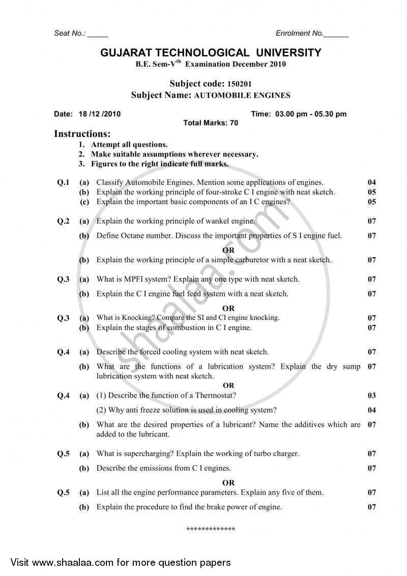 Question Paper - Automobile Engines 2010 - 2011 - B.E. - Semester 5 (TE Third Year) - Gujarat Technological University (GTU)