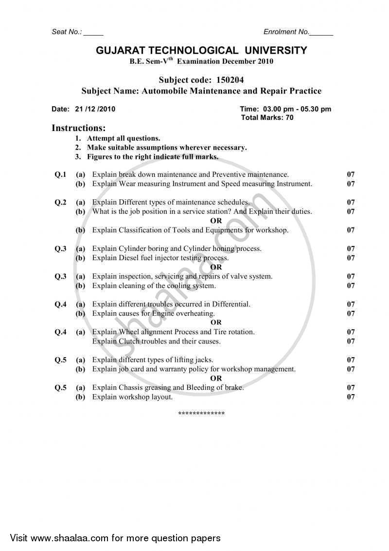 Question Paper - Automobile Maintenance and Repair Practice 2010-2011 - B.E. - Semester 5 (TE Third Year) - Gujarat Technological University (GTU) with PDF download