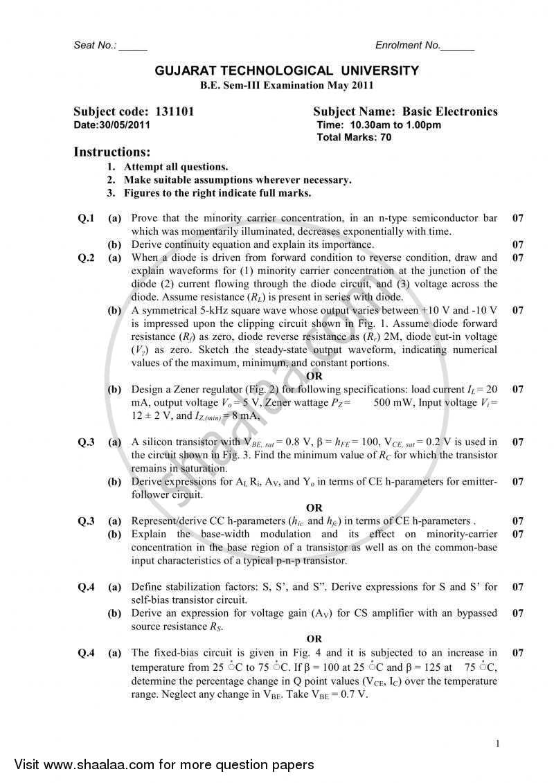 Question Paper - Basic Electronics 2010 - 2011 - B.E. - Semester 3 (SE Second Year) - Gujarat Technological University (GTU)