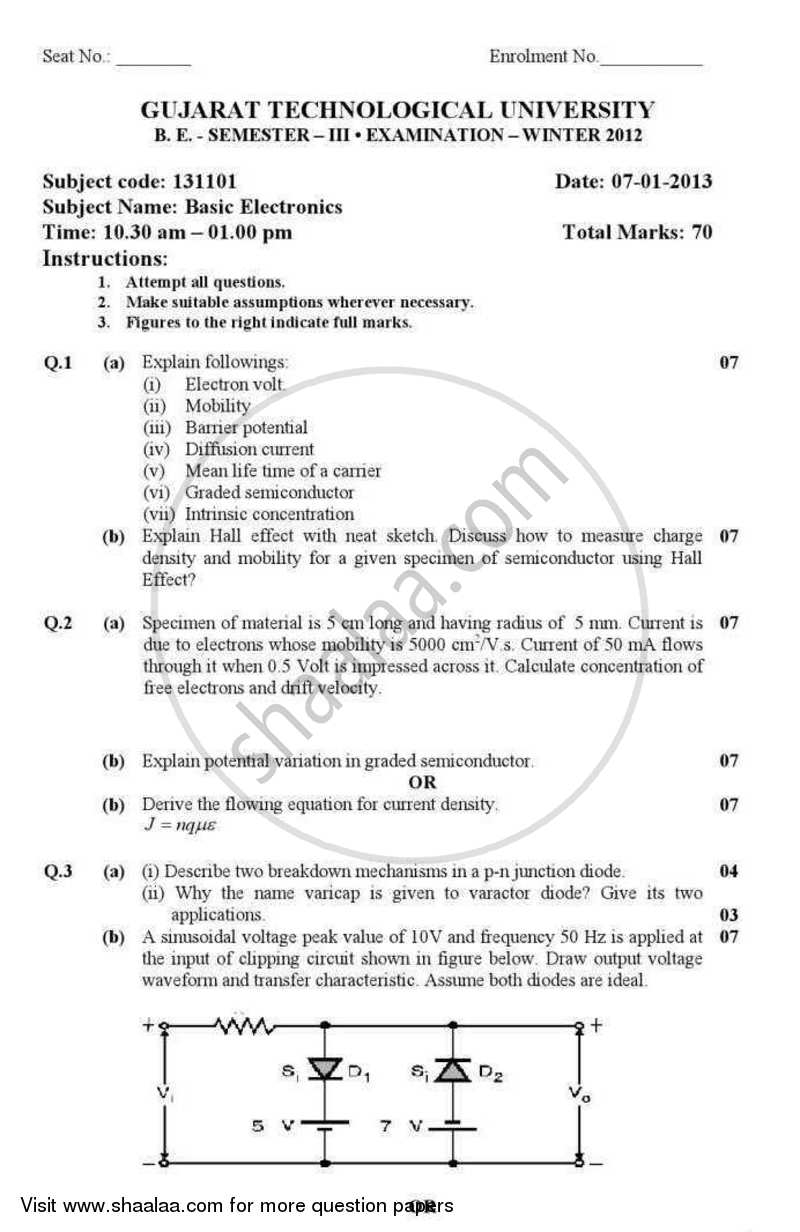 Question Paper - Basic Electronics 2012 - 2013 - B.E. - Semester 3 (SE Second Year) - Gujarat Technological University (GTU)