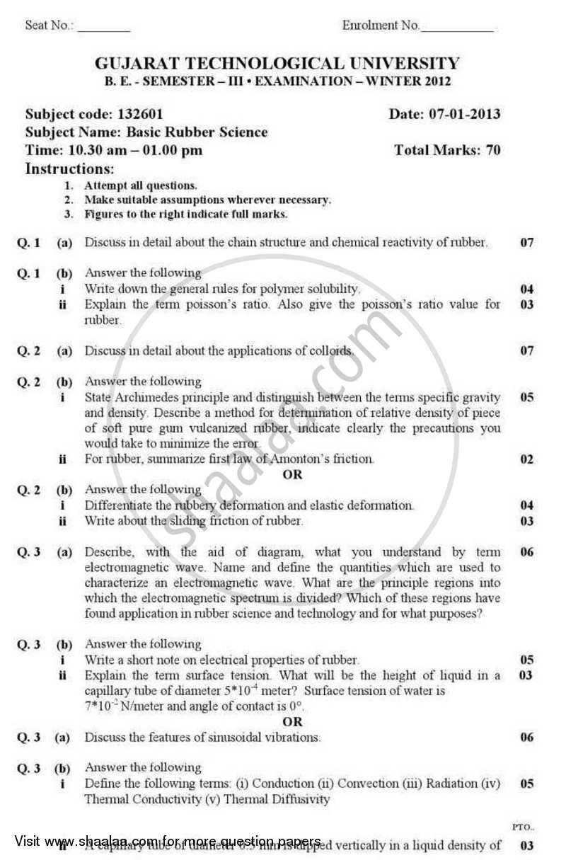 Question Paper - Basic Rubber Science 2012 - 2013 - B.E. - Semester 3 (SE Second Year) - Gujarat Technological University (GTU)