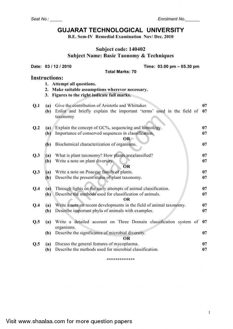 Question Paper - Basic Taxonomy and Techniques 2010 - 2011-B.E.-Semester 4 (SE Second Year) Gujarat Technological University (GTU)