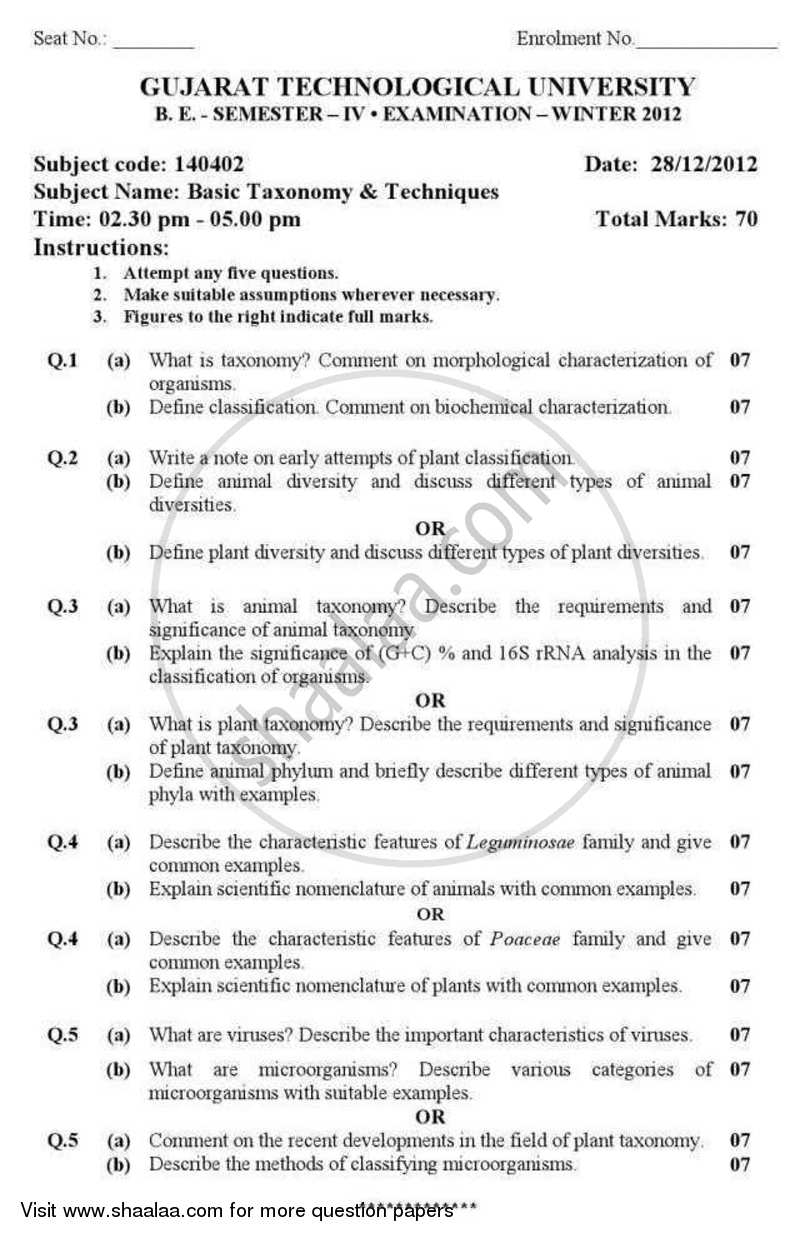 Question Paper - Basic Taxonomy and Techniques 2012 - 2013 - B.E. - Semester 4 (SE Second Year) - Gujarat Technological University (GTU)
