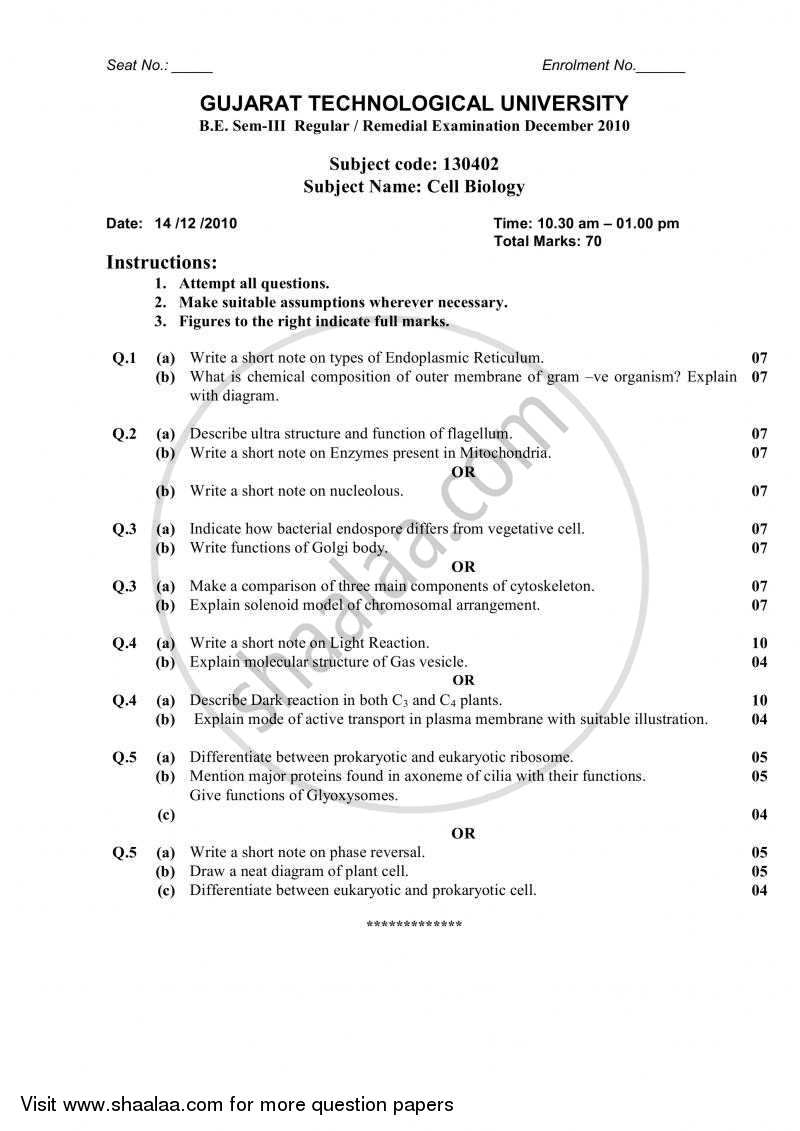 Cell Biology 2010-2011 - B.E. - Semester 3 (SE Second Year) - Gujarat Technological University (GTU) question paper with PDF download