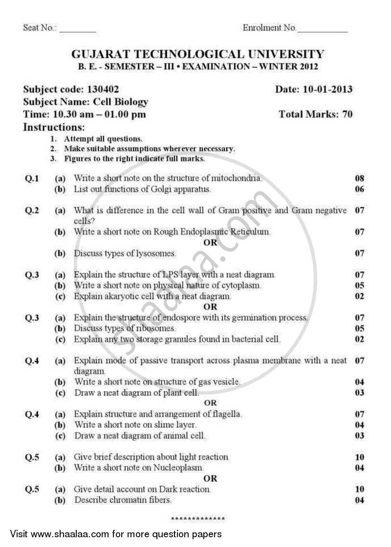 Question Paper - Cell Biology 2012 - 2013 - B.E. - Semester 3 (SE Second Year) - Gujarat Technological University (GTU)