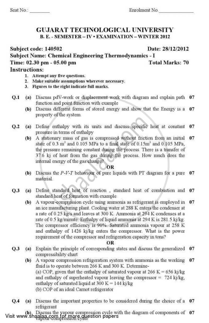 Question Paper - Chemical Engineering Thermodynamics 1 2012 - 2013 - B.E. - Semester 4 (SE Second Year) - Gujarat Technological University (GTU)