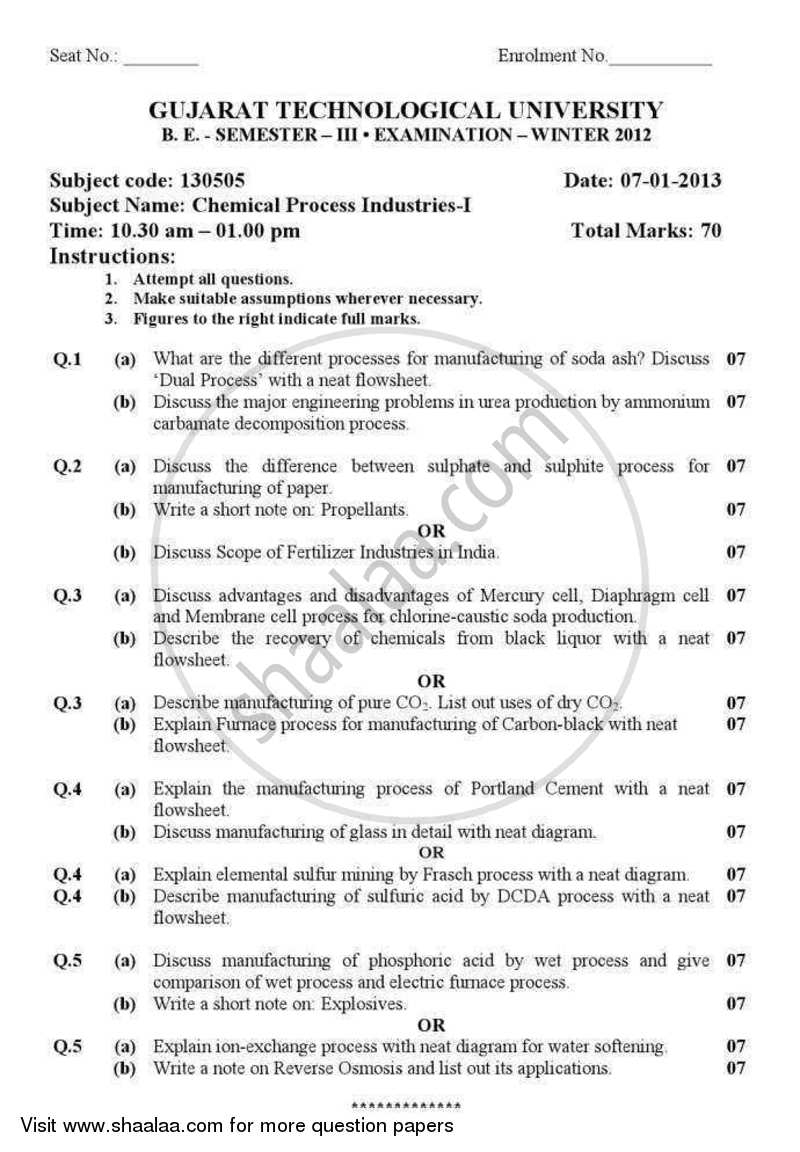 Question Paper - Chemical Process Industries 1 2012 - 2013 - B.E. - Semester 3 (SE Second Year) - Gujarat Technological University (GTU)