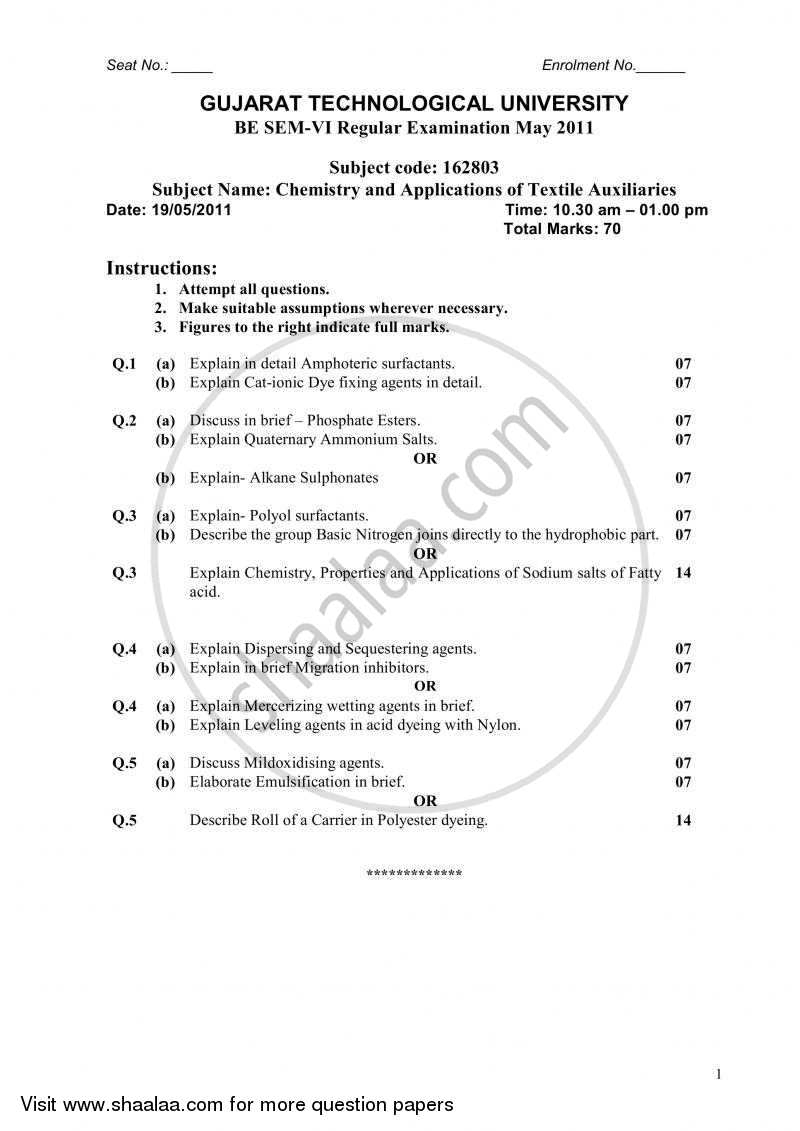 Question Paper - Chemistry and Applications of Textile Auxiliaries 2010 - 2011 - B.E. - Semester 6 (TE Third Year) - Gujarat Technological University (GTU)