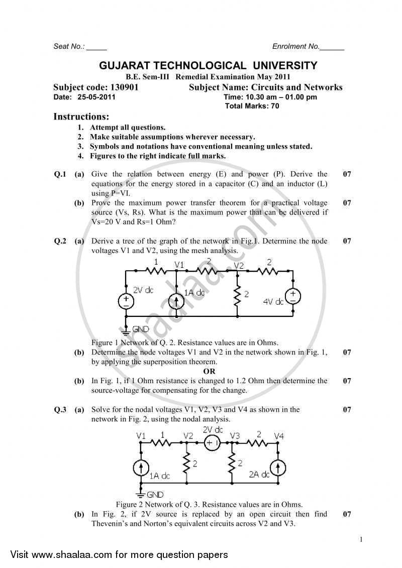 question paper bachelor of engineering in electrical andquestion paper bachelor of engineering in electrical and electronics engineering semester 3 (se second year) circuits and networks 2010 2011 with pdf