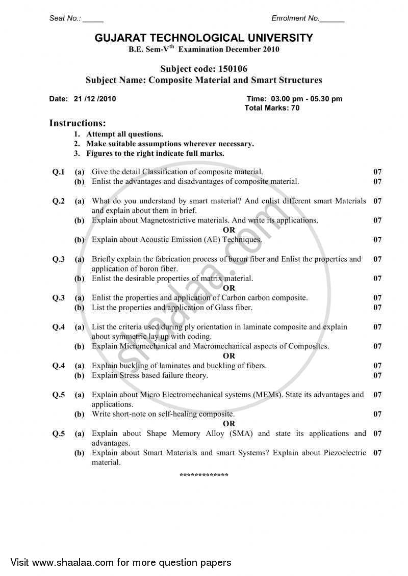Question Paper - Composite Materials and Smart Structures 2010 - 2011 - B.E. - Semester 5 (TE Third Year) - Gujarat Technological University (GTU)
