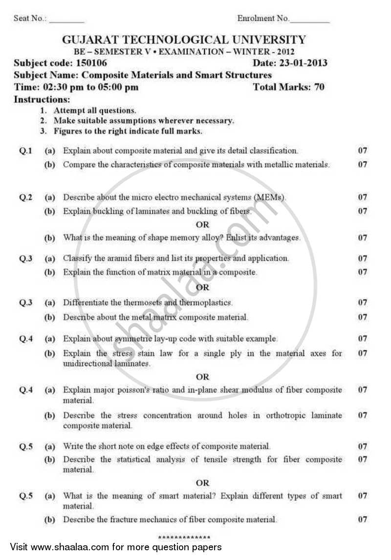 Question Paper - Composite Materials and Smart Structures 2012 - 2013 - B.E. - Semester 5 (TE Third Year) - Gujarat Technological University (GTU)