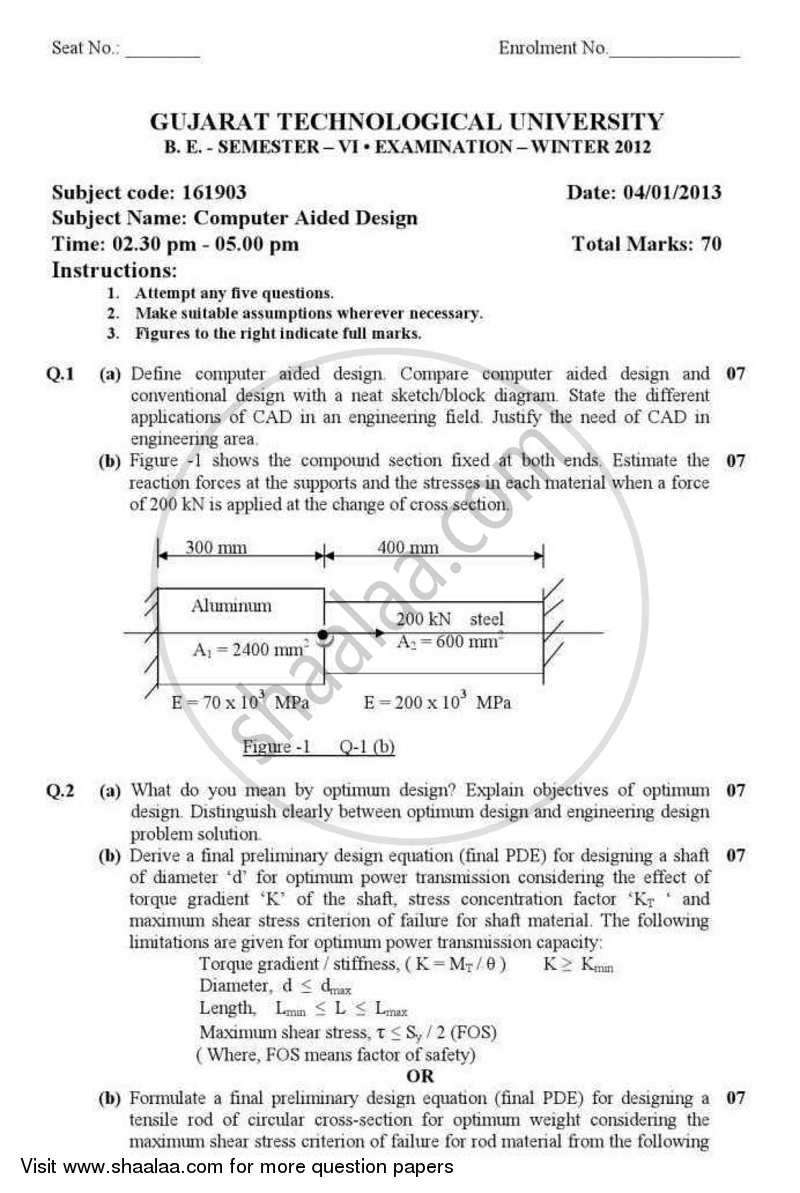 Question Paper - Computer Aided Design 2012 - 2013 - B.E. - Semester 6 (TE Third Year) - Gujarat Technological University (GTU)