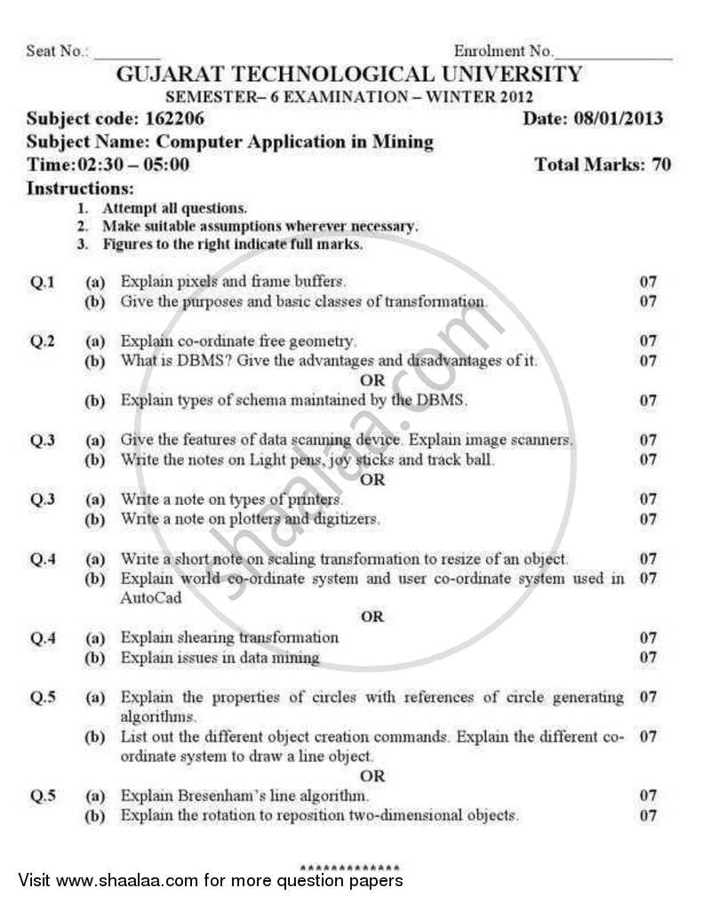Question Paper - Computer Application in Mining 2012 - 2013 - B.E. - Semester 6 (TE Third Year) - Gujarat Technological University (GTU)