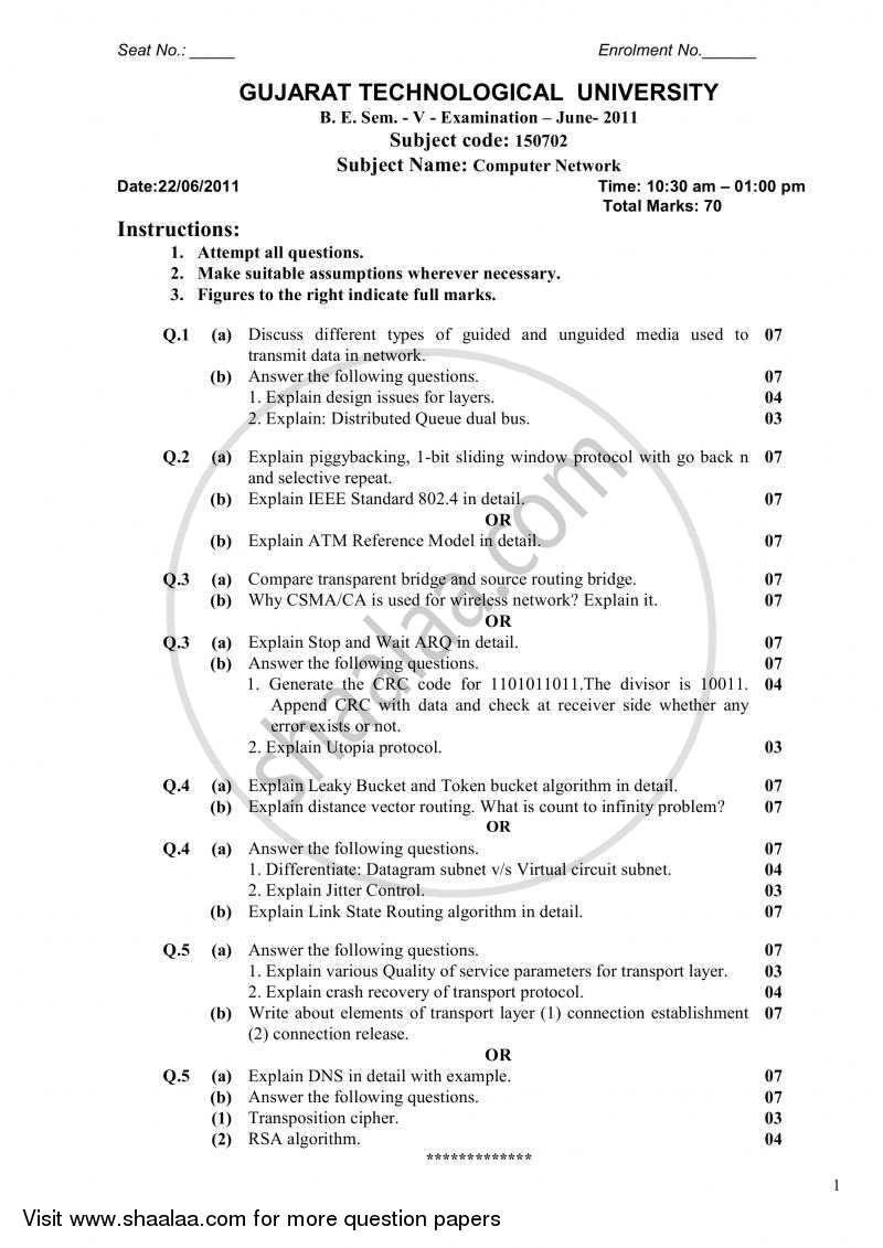 Question Paper Computer Networks 2010 2011 Bachelor Of