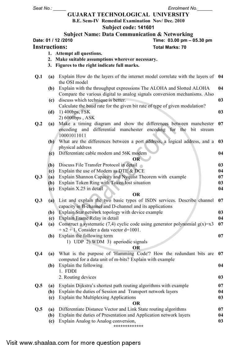 Question Paper - Data Communication and Networking 2010 - 2011 - B.E. - Semester 4 (SE Second Year) - Gujarat Technological University (GTU)