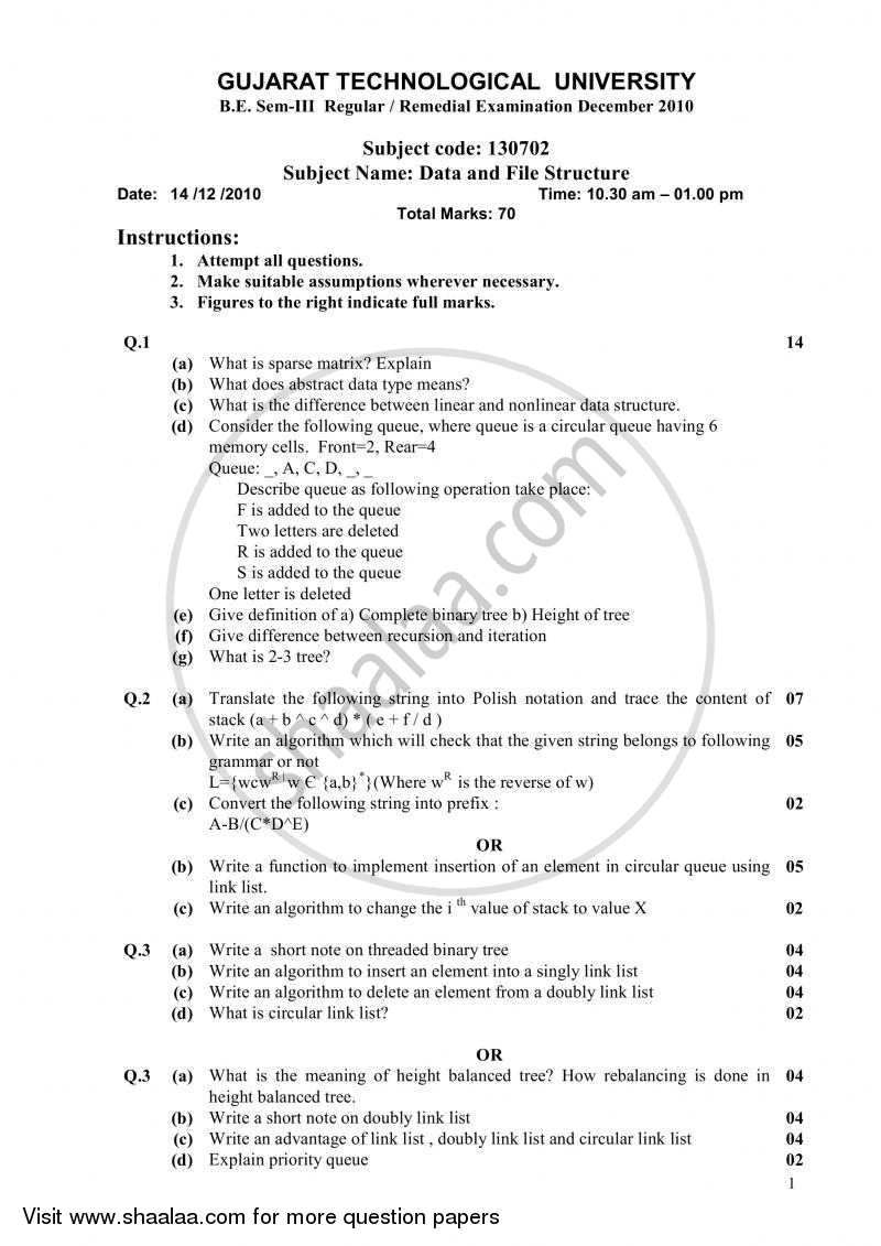Question Paper - Data and File Structure 2010 - 2011 - B.E. - Semester 3 (SE Second Year) - Gujarat Technological University (GTU)