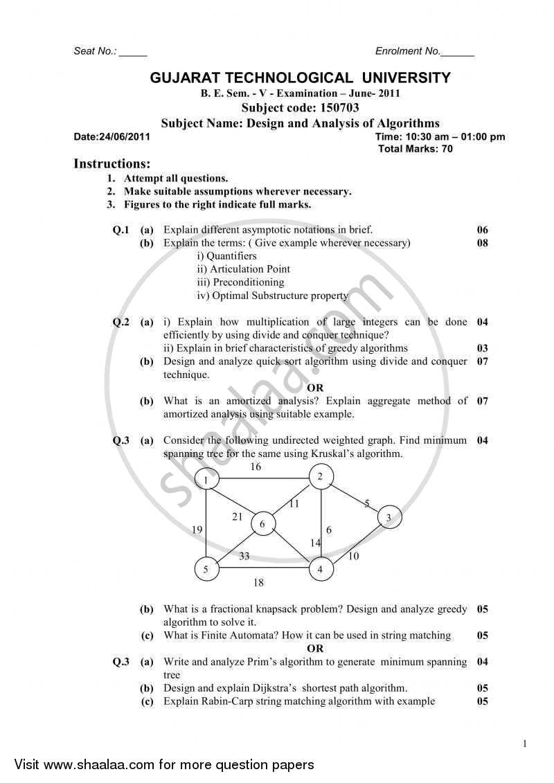 Question Paper - Design and Analysis of Algorithms 2010 - 2011 - B.E. - Semester 5 (TE Third Year) - Gujarat Technological University (GTU)