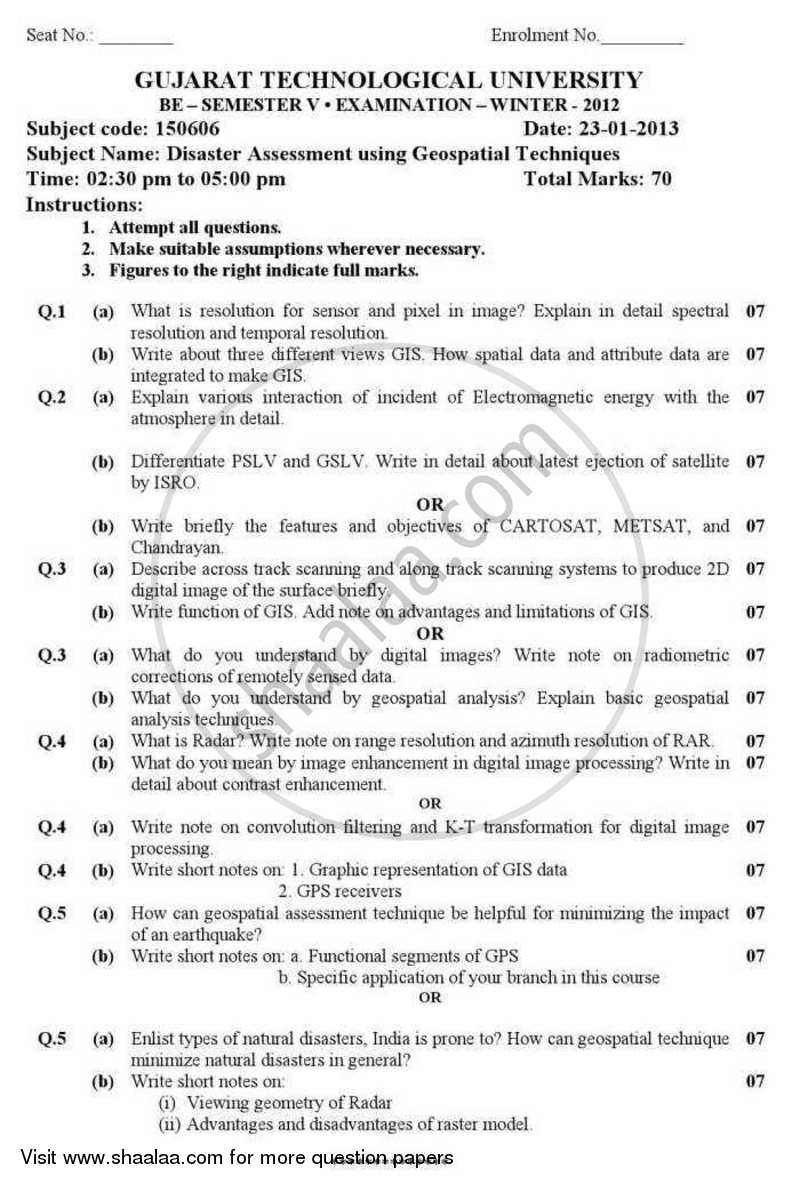 Question Paper - Disaster Assessment Using Geospatial Techniques 2012 - 2013 - B.E. - Semester 5 (TE Third Year) - Gujarat Technological University (GTU)