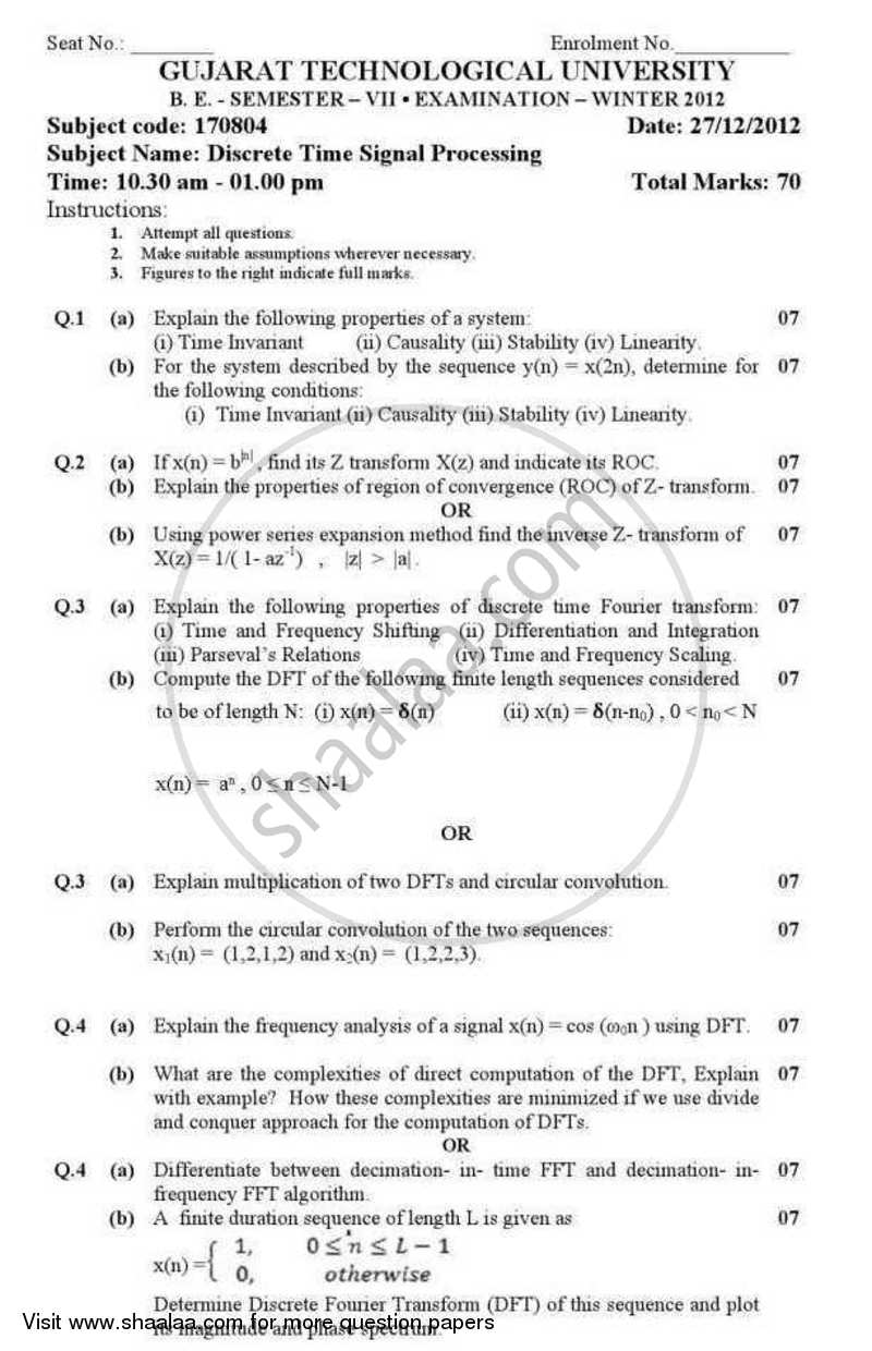 Question Paper - Discrete Time Signal Processing 2012 - 2013 - B.E. - Semester 7 (BE Fourth Year) - Gujarat Technological University (GTU)
