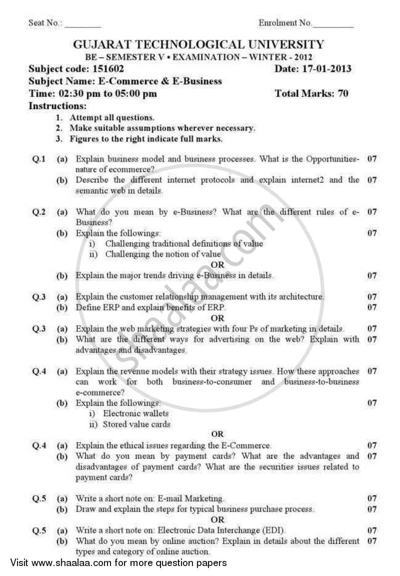 Question Paper - E-commerce and E-business 2012 - 2013 - B.E. - Semester 5 (TE Third Year) - Gujarat Technological University (GTU)