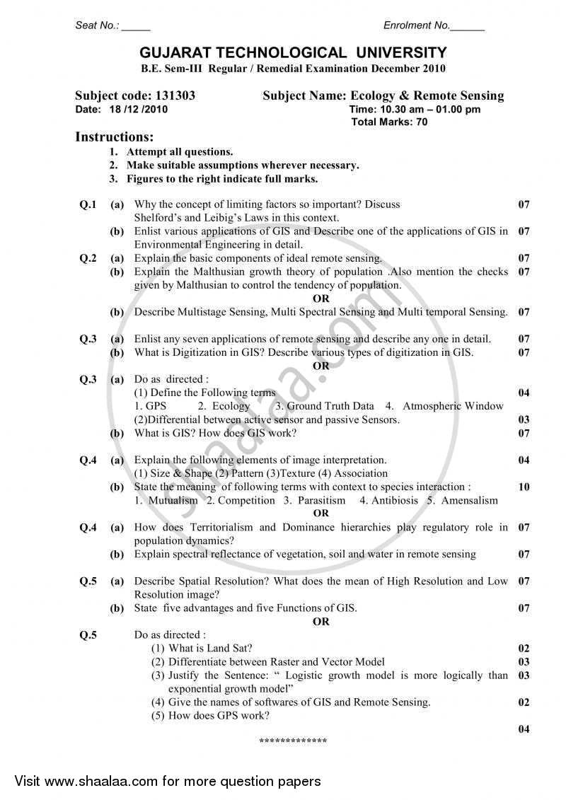 Question Paper - Ecology and Remote Sensing 2010 - 2011 - B.E. - Semester 3 (SE Second Year) - Gujarat Technological University (GTU)