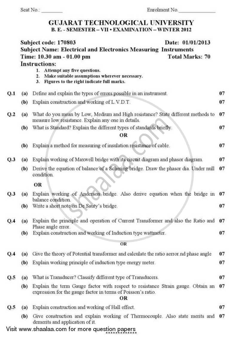 Question Paper - Electrical and Electronics Measuring Instruments 2012 - 2013 - B.E. - Semester 7 (BE Fourth Year) - Gujarat Technological University (GTU)
