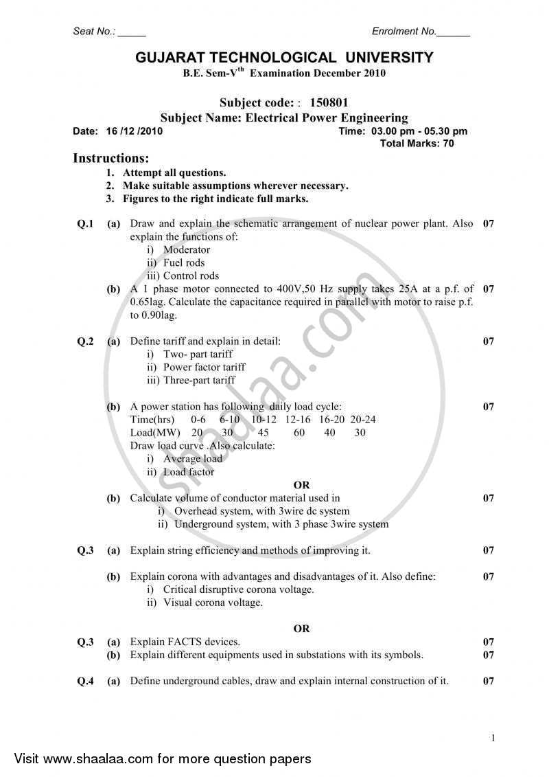 Question Paper - Electrical Power Engineering 2010 - 2011 - B.E. - Semester 5 (TE Third Year) - Gujarat Technological University (GTU)