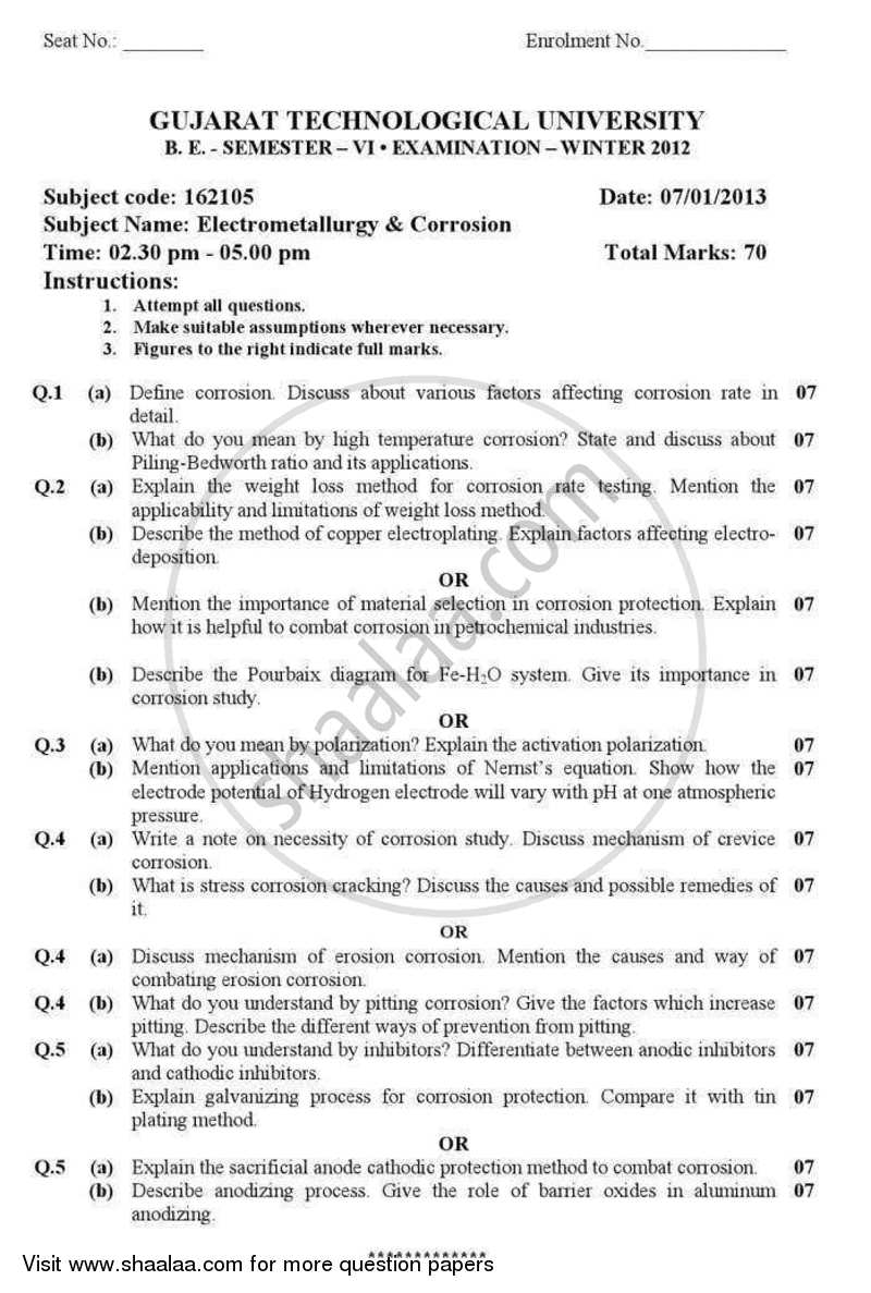 Question Paper - Electrometallurgy and Corrosion 2012 - 2013 - B.E. - Semester 6 (TE Third Year) - Gujarat Technological University (GTU)