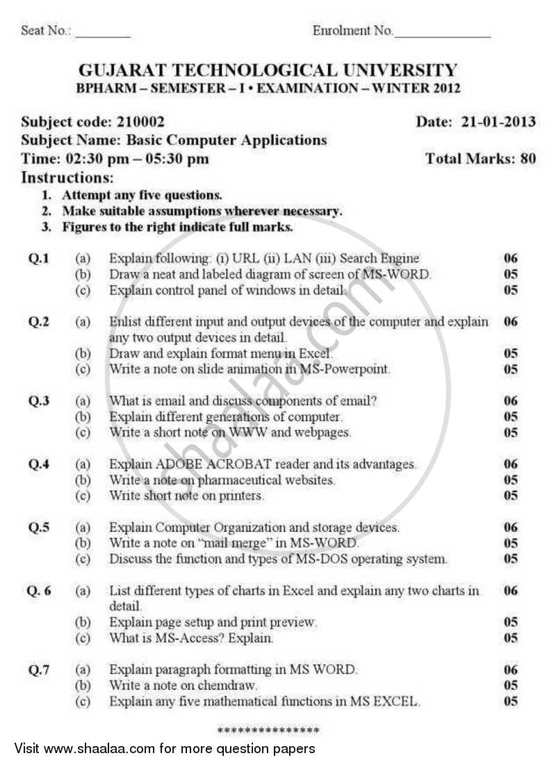 Question Paper - Basics of Computer Applications 2012 - 2013 - B.Pharm. - Semester 1 - Gujarat Technological University (GTU)