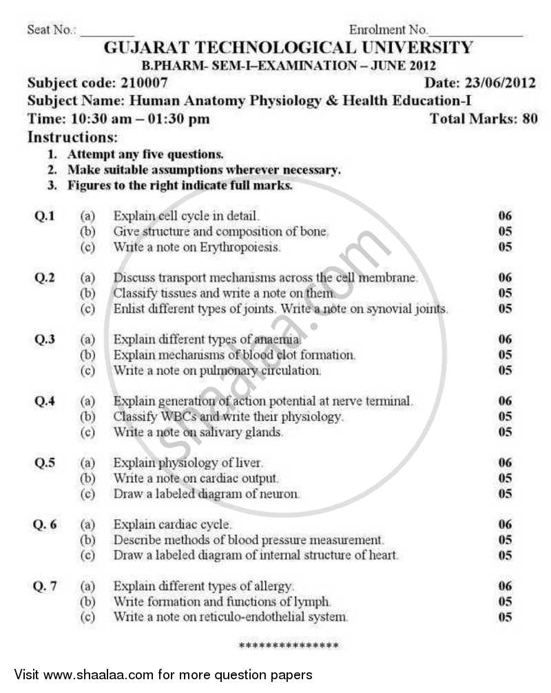Question Paper - Human Anatomy Physiology and Health Education 1 ...
