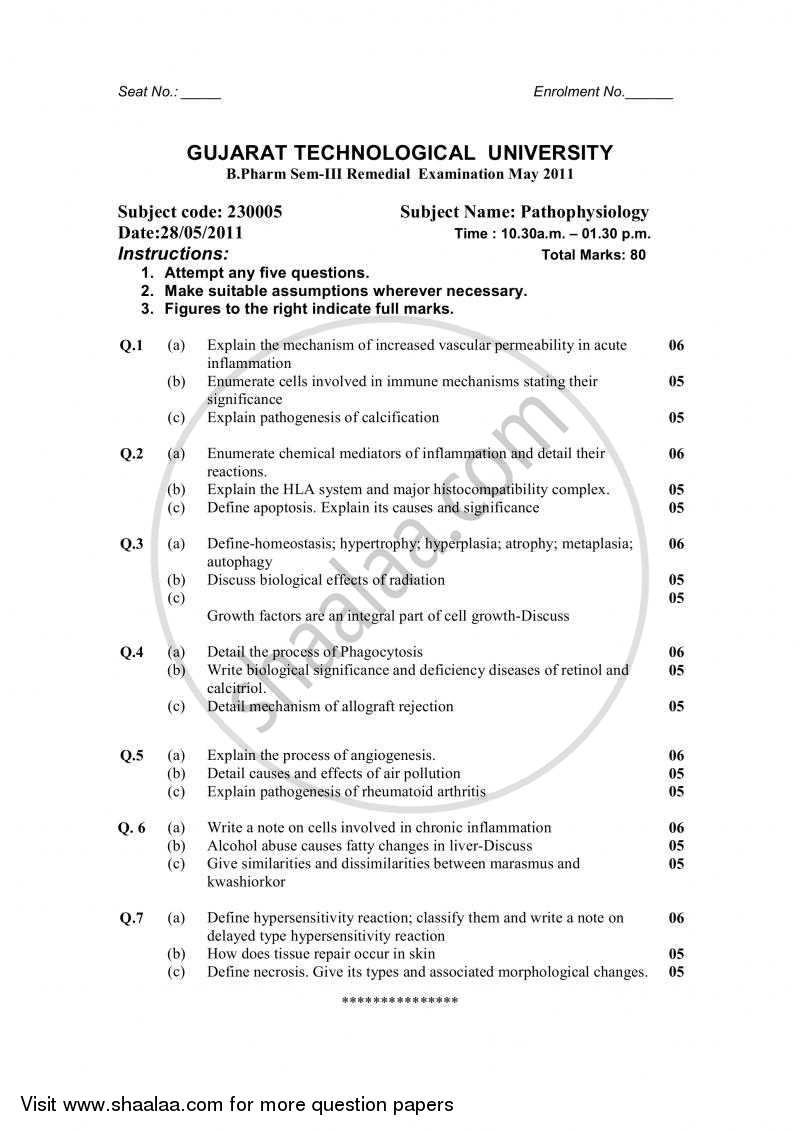 Question Paper - Pathophysiology 2010 - 2011 - B.Pharm. - Semester 3 - Gujarat Technological University (GTU)