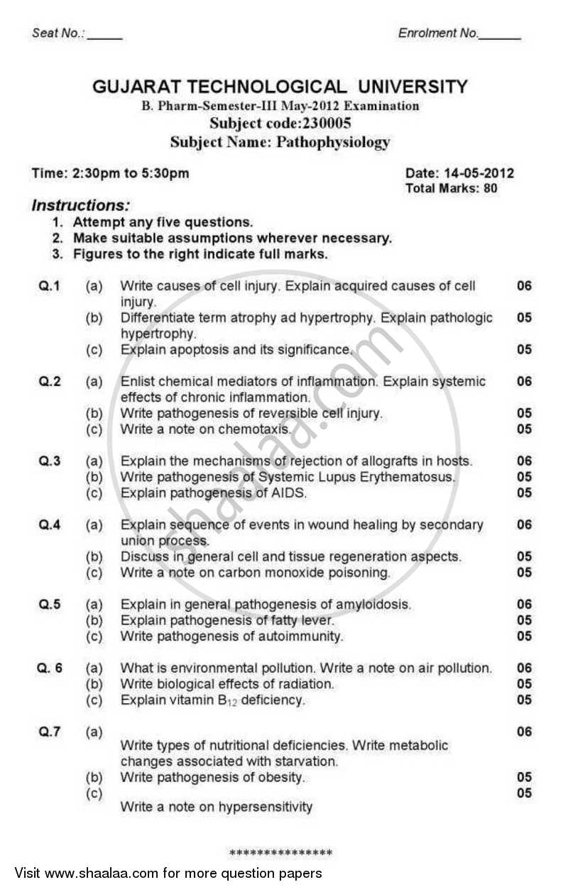 Question Paper - Pathophysiology 2012 - 2013 - B.Pharm. - Semester 3 - Gujarat Technological University (GTU)