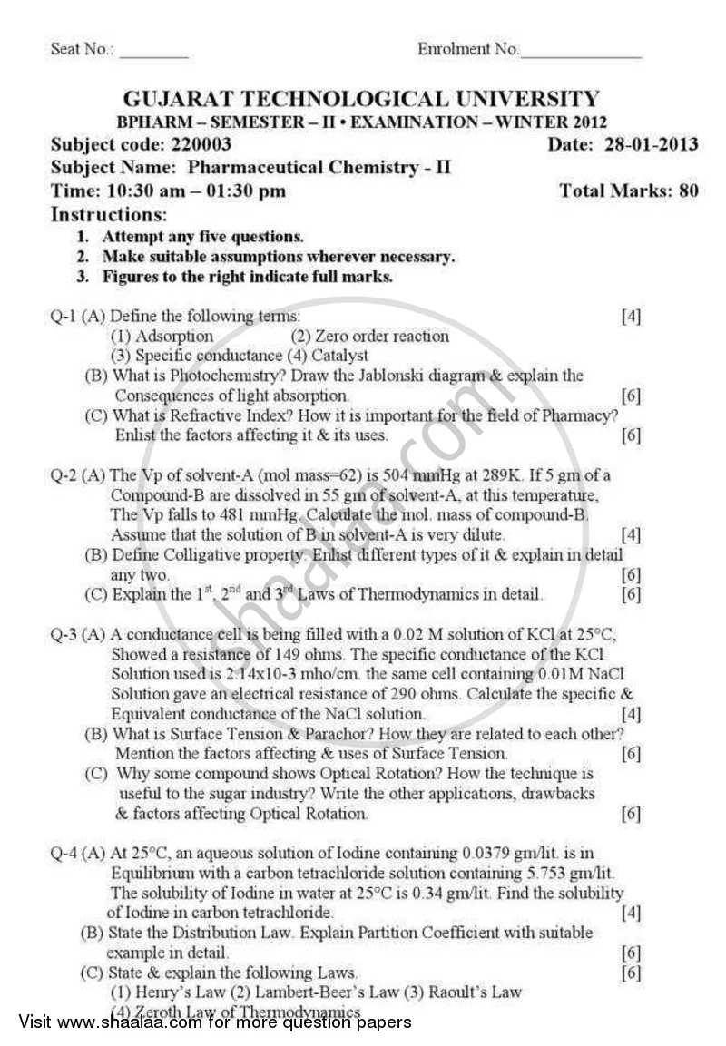 Question Paper - Pharmaceutical Chemistry 2 2012 - 2013-B.Pharm.-Semester 2 Gujarat Technological University (GTU)