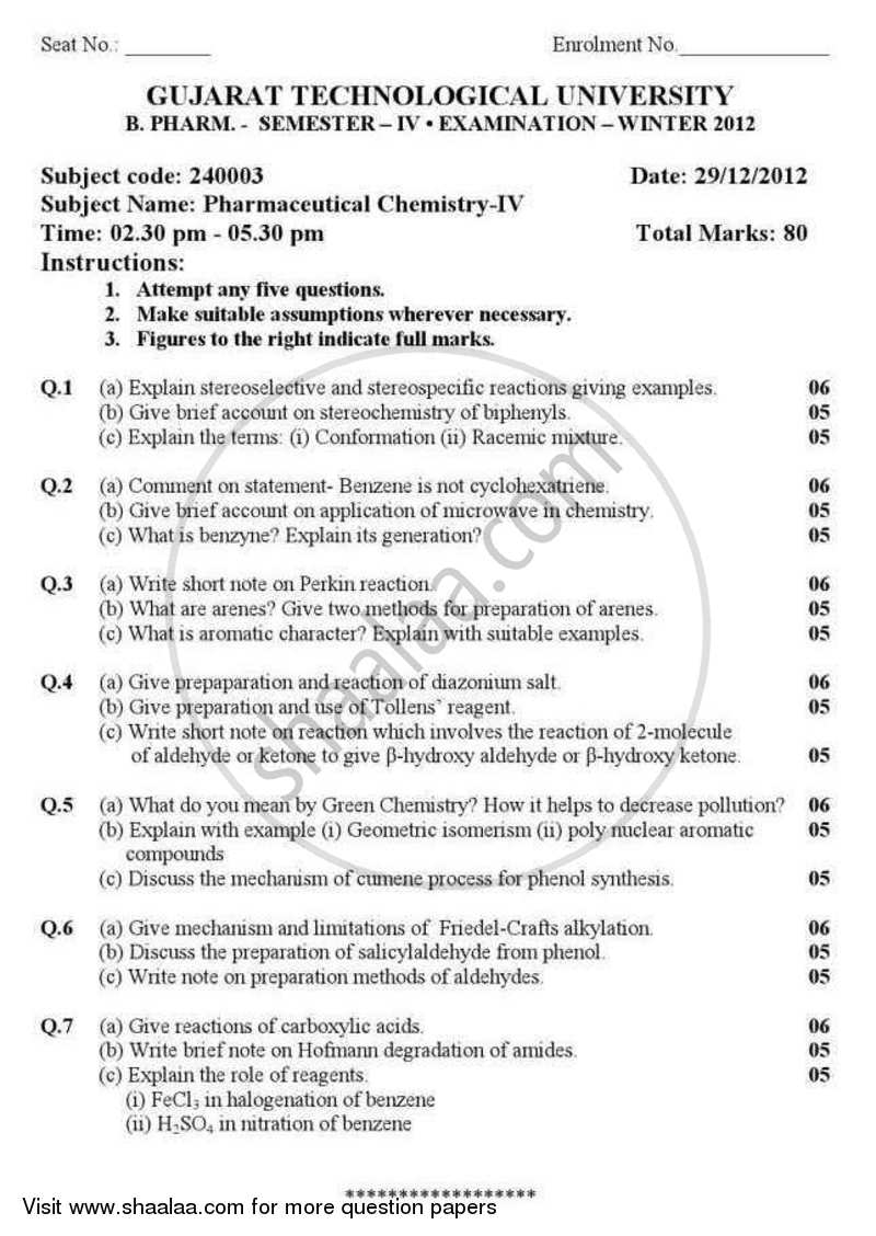 Question Paper - Pharmaceutical Chemistry 4 (Organic) 2012 - 2013 - B.Pharm. - Semester 4 - Gujarat Technological University (GTU)