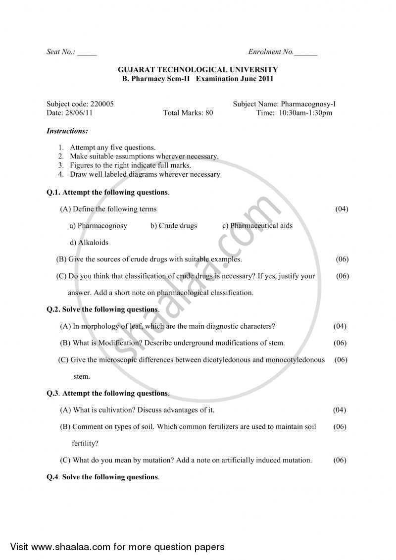 Question Paper - Pharmacognosy 1 2010 - 2011 - B.Pharm. - Semester 2 - Gujarat Technological University (GTU)
