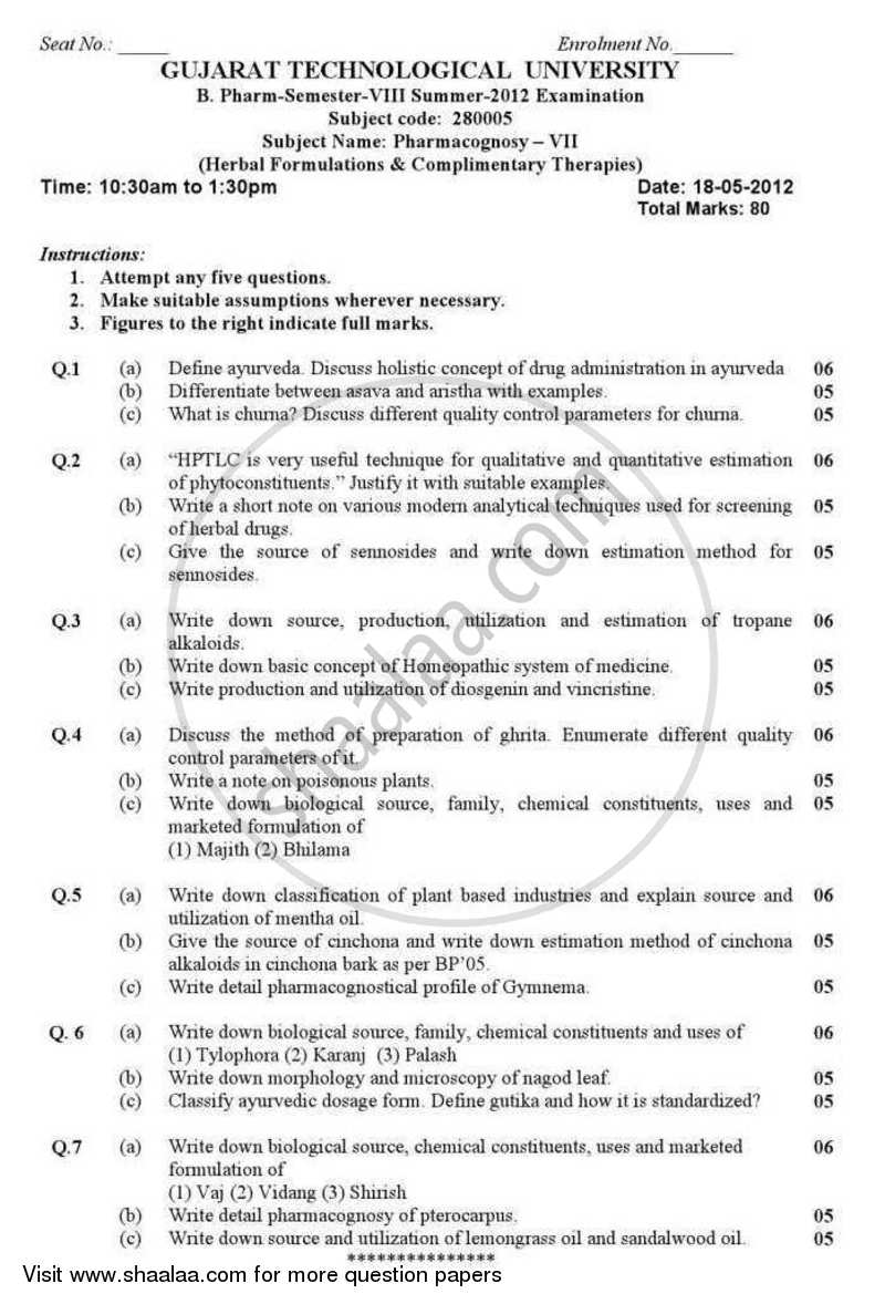 Question Paper - Pharmacognosy 7 (Herbal Formulations and Complimentary Therapies) 2011 - 2012 - B.Pharm. - Semester 8 - Gujarat Technological University (GTU)